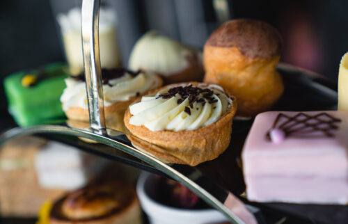 This ultimate afternoon tea is served with an array of cakes & patisserie including french fancies.
